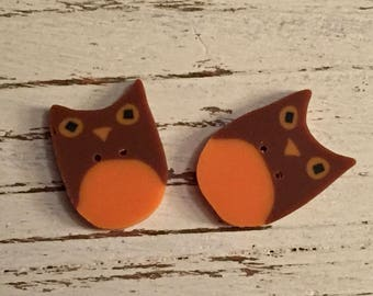 "Owl Buttons, ""Tingles Owl"" Handmade Buttons by JABC, Set of 3 Buttons, Sewing, Cross Stitch, Quilting, Embellishments"