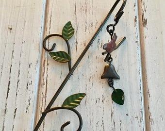 Mini Bird Wind Chime on Shepherds Hook, Fairy Garden Accessory, Miniature Garden Decor, Metal Garden Decor