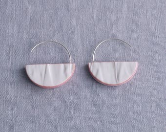RUCHED No12 geometric semi circle earrings porcelain earrings sterling silver white blush pink drop earrings geo earrings artisan earrings