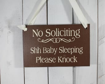 SALE/No Soliciting/Shh Baby Sleeping Please Knock Sign/Baby Shower Gift/Wood Sign/Outdoor Sign