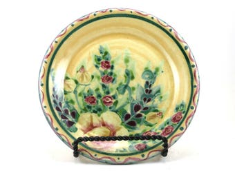 Yellow Dinnerware - Handmade Floral Ceramic Plate - Pottery Dish for Dessert or Bread - Roses and Polka Dots