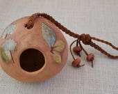 Ceramic Hanging Planter or Bird Feeder - Small Size, 2-Sided - Using Impressed Real Plants - Succulent or Air Plant Holder - Gardener Gift