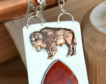 Hand Cast Bronze Buffalo sits on this 925 Sterling Silver Pendant with a Red Creek Jasper Gemstone, Handmade,  US Made, Unisex  Gift