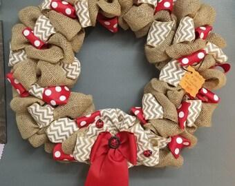 Handmade burlap wreath, Ladybug, Summer wreath, red and white