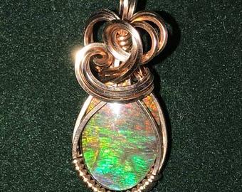 Ammolite in 14k Rose Gold-Filled Sculpted Setting