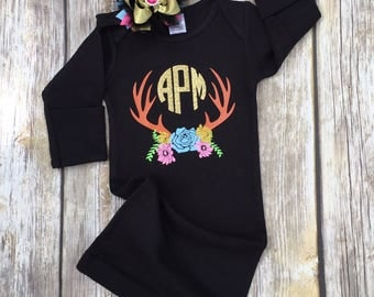 Antler baby etsy personalized baby girl outfit deer antlers baby outfit monogrammed baby gown baby hat negle Choice Image