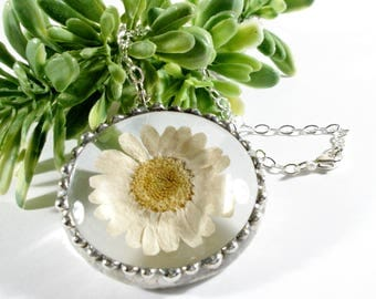 Real Daisy Flower Necklace, Dried Flower Pendant, Nature Jewelry, Sterling Silver Chain