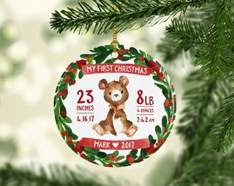 Baby Christmas Ornament Personalized Babys First Christmas Ornament Boy Baby Boy Ornament Babys First Christmas Ornament Handmade Red Bear