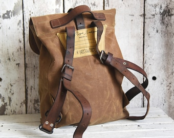 Waxed Canvas Backpack Little Rogue in Spice, Rucksack, Waxed Canvas Bag, Bicycle Bag, Bike Bag, Waxed Canvas Travel Bag, Leather Straps, Him