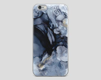 Black Marble - Alcohol Ink Fluid Ink Abstract Art iPhone Case