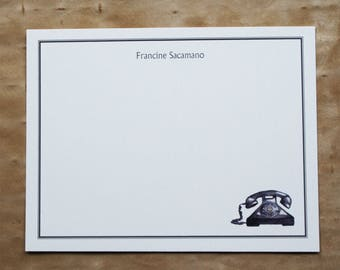 NEW! Old Fashioned Phone Telephone Thank You Notes Custom Notecard Stationery. Personalize Watercolor Print, Set of 10.