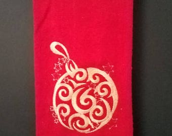 Embroidered Towel with a Filigree Christmas Ball