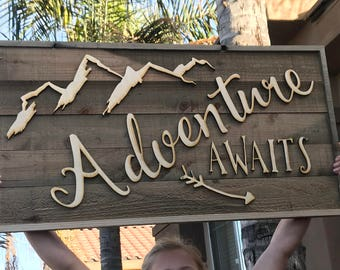 Rustic Wood sign made from faux Barn Wood Barnwood  with wooden letters  Adventure Awaits decor bw06