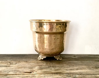 Footed Brass Planter /  Made In India / Solid Brass Footed Planter
