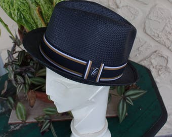 Black Straw Fedora with Ribbon and Calligraphy Detail
