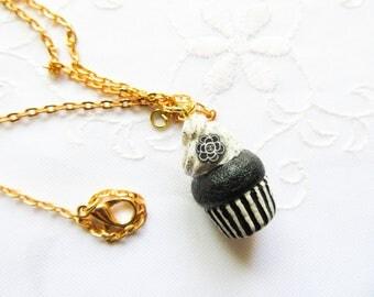 Minimalist Cupcake Charm Necklace / Cupcake Necklace / Food Necklace / Cute Necklace / Polymer Clay / Black & White / Flower / Necklace