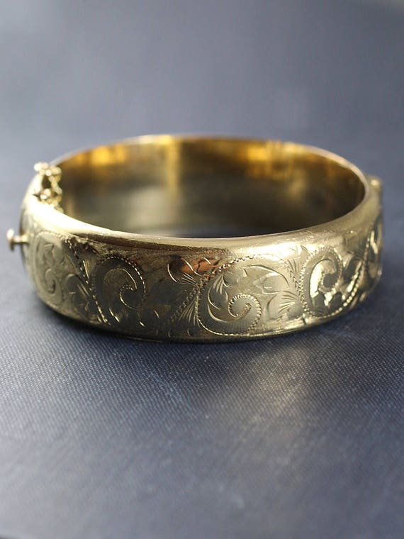 Vintage English 9ct Rolled Gold Bangle, Swirl Engraved Wide Cuff Bracelet - Waves of Gold