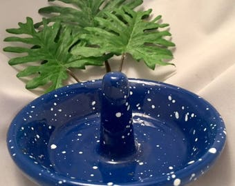 Vintage Kitchen Cast Iron John Wright Apple Schnitzer Baking American Antique Blue Enamel Speckle Granite Collectible Housewarming Christmas