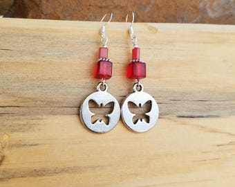 Red Butterfly Earrings, Silver Butterfly and Red Sterling Silver Earrings, Butterfly Earrings, Red Silver Butterfly Earrings