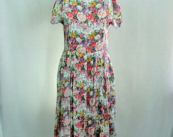 Vintage Floral Rayon Boho Cap Sleeves Button Front Summer Dress Large