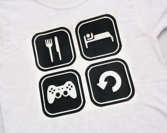 Eat Sleep Game Repeat - Boys Gaming Shirt