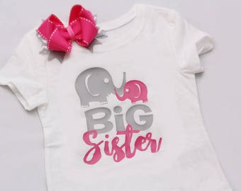 Big Sister Elephant Shirt - Coordinating Hairbow - Pink and Grey