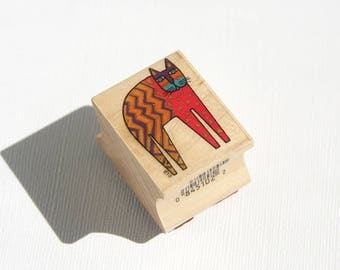 Laurel Burch Cat Wood Mount Rubber Stamp All Night Media Buelow 951D Retired Discontinued One Standing Cat Decorative Patterned USED