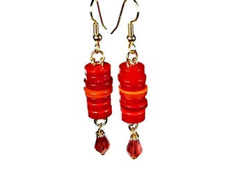 Red Dangle Earrings, Button Jewelry, Repurposed Buttons, Upcycled Jewelry, Handmade Gifts, Gift For Her