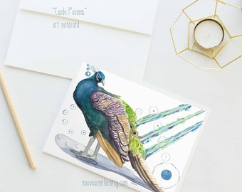 Peacock Gifts Peacock Decor Art Card Blank Notecard Peacock Stationery Unique Cards Peacock Collectible Best Selling Itemsfine stationery