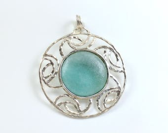 Large Sterling Silver Necklace Pendant Round with Blue Green Glass Center Abstract Curvy Design Elements Big Bold Versatile Just Add Chain!