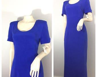 Blue Silk Dress by Maggy London // Kenneth Nolan // Bows, Blue, Silk, Dress