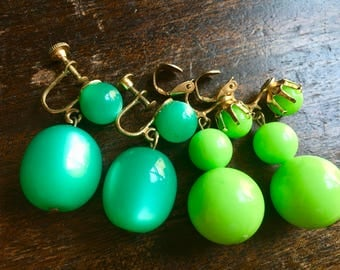 Vintage 1960's Neon Green Lucite & Plastic Earrings - MoonGlow - Festival Wear - Hippie  boho Chic - Lime Green - Mod - GoGo - Retro Jewelry