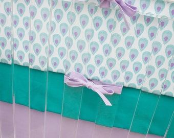 Peacock Crib Bedding, Purple and Teal Baby Girl Bedding, Peacock Feathers, Lilac, Lavender, Turquoise Baby Girl Baby Bedding, Purple Nursery