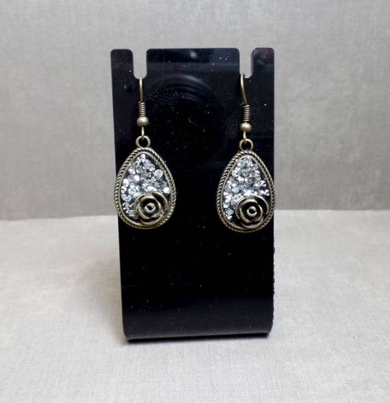 Bronze Rose Teardrop Earrings - Bohemian Earrings - Sparkle Earrings - Faux Druzy Earrings - Bling Earrings - Rose Earrings