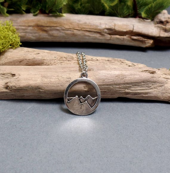 Silver Mountain Charm Necklace - Mountains Necklace - Dainty Pendant - Wanderlust - Charm Necklace - Free US Shipping
