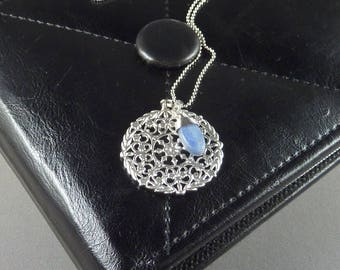 Spanish Coast. Long Silver Medallion Necklace. 16k white gold plated. genuine kyanite. modern. delicate. whimsical. layering.