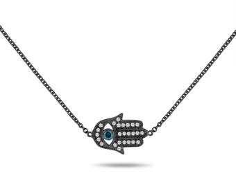 Vintage Style Hamsa Pendant Necklace, Blue Diamond Evil Eye Pendant 14K Black Gold 0.32 Carat Unique Handmade Micro Pave