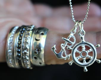 Long Anchor and Wheel Necklace 925 Sterling Silver , Layering Jewelry , Bridesmaid Necklaces , Nautical Jewelry