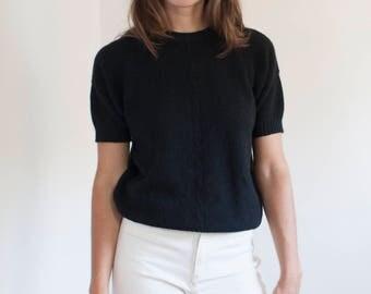 Black angora short sleeved sweater - AQUASCUTUM knit tshirt - M