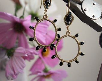 Wire Wrapped Crystal Hoop Earrings - Black - Gold - Bohochic - Unique - Winter Wedding - Fashion - February - Valentines Day - Mardi Gras