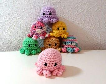 Mini Octopus, Crochet Octopus, Tiny Crochet Sea creature, Nursery Decor, Office Desk Decoration