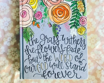Custom hand painted Journaling bible - choose your own custom design, verse and colors
