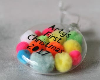 Personalised Pom Pom 1st Christmas Bauble | Christmas Decoration | Xmas Present | Christmas Tree | Mulitcoloured | Neon | Glass Bauble