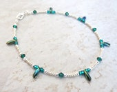 SPECIAL ORDER for Melissa: Peacock Glass Anklet/Blue-Green Glass Daggers/Emerald Green Swarovski Crystals/Silver Czech Glass Beads