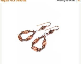 40% Off CLEARANCE Copper Teardrop Earrings, Boho Hoop Earrings, Fancy Earring Wires, Oxidized Copper Beads, Bright Beaded Dangle Earrings