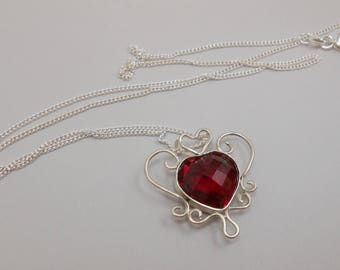 Ruby Heart Shaped Ruby Created Upcycled GemstoneSterling Silver Pendant July Birthstone Love Valentine's Day Silver Plated Necklace