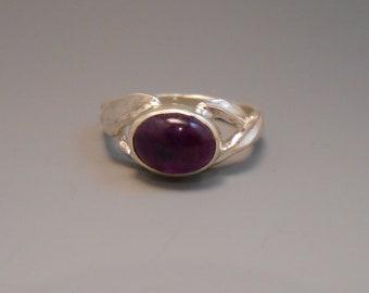Amethyst Genuine Recycled Amethyst Purple Cabochon Gemstone Sterling Silver Ring February Birthstone