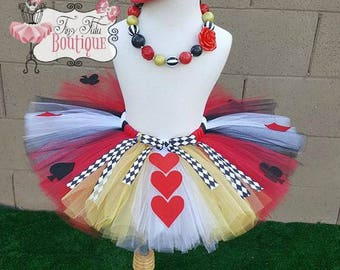 QUEEN OF HEARTS- Red, Black, White, Gold baby/child Tutu Set:  Newborn-5T