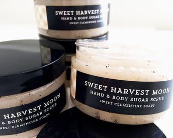 Sweet Harvest Moon Sugar Scrub, Hand Scrub, Body Scrub, Aloe Vera Scrub, Fall, Autumn, Orange, Maple, Rum, Coconut, Caramel, Cherry