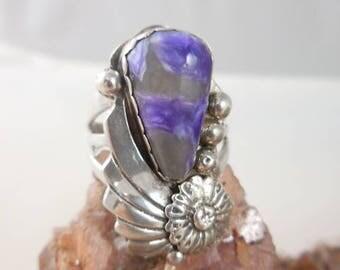 Native American Purple Charolite Sterling Silver Ring
